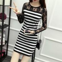 Round Neck Full Sleeves Floral Mini Dress - Black and White