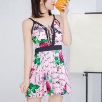 String Closure Strap Shoulder Printed Mini Dress - Pink