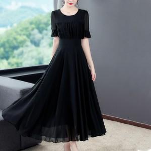 Round Neck Short Sleeves Thin Fabric Fancy Formal Dress - Black