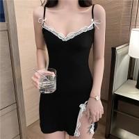Lace Deep Neck Sexy Wear Mini Dress - Black
