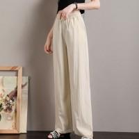 Elastic Waist Straight Casual Wear Bottom Trouser Pants - Apricot