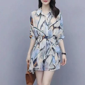 Shirt Collar Digital Printed Half Sleeved Mini Romper Dress