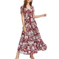 V Neck Short Sleeves A-Line Midi Dress - Red