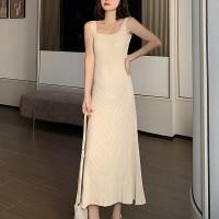 Strap Shoulder Square Neck Sleeveless Midi Dress - Apricot