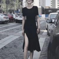 Round Neck Short Sleeved Split Hem Midi Dress - Black