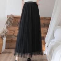 Ruffled Elastic Waist Full Length Casual Party Wear Skirt - Black