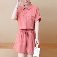 Shirt Collar Two Piece Solid Color Suit - Pink