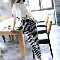 Two Pieces Round Neck Striped Pant With Top - Black and White