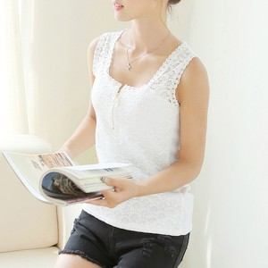 Button Closure Sleeveless Lace Summer Blouse Top - White
