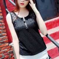 Button Closure Sleeveless Lace Summer Blouse Top - Black