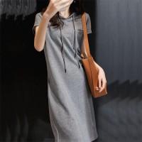 Hoodie Neck Straight Short Sleeves Mini Dress - Gray