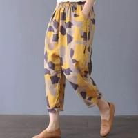 Camouflage Printed Elastic Waist Short Length Trouser Pants - Yellow
