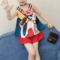 Cartoon Printed Sleeveless Cute Girl Matching Set - Red