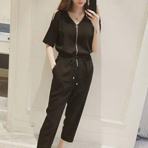 Cold Shoulder Zipper Closure Narrow Bottom Romper Dress - Black