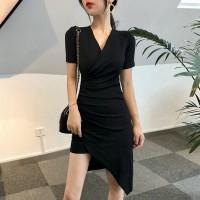 Slash Hem V Neck Modern Women Fashion Solid Color Cocktail Dress