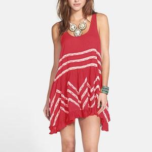 Sleeveless Digital Printed Irregular Mini Dress - Red