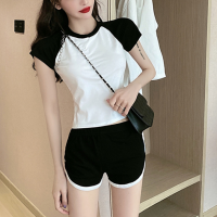 Casual Sports Wear Two Pieces Raglan Top With Shorts - Black and White