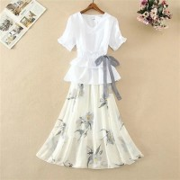 Ruffled Short Sleeved Solid Top With Printed Skirt - White