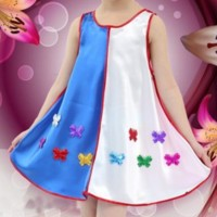 Sleeveless Butterfly Contrast Round Neck A-Line Girls Dress