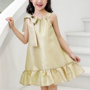 Bow Patch Shoulder Ruffled Hem Girls Dress - Golden