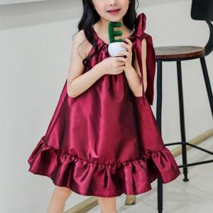 Bow Patch Shoulder Ruffled Hem Girls Dress - Wine Red