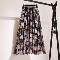 Floral Printed Thin Fabric Women Fashion Skirt - Black