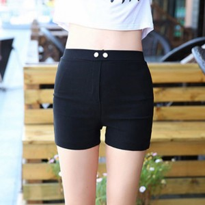 Button Patched Elastic Waist Body Fitted Shorts - Black