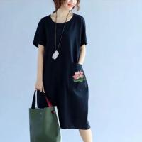Round Neck Short Sleeves Baggy Midi Dress - Black