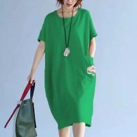 Round Neck Short Sleeves Baggy Midi Dress - Green