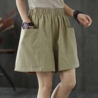 Elastic Waist Loose Duo Pockets Shorts Pant - Khaki