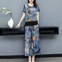 Digital Printed Thin Fabric Two Pieces Suit - Blue