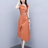 Waist Belt Sloping Neck Irregular Modern Fashion Formal Dress - Orange