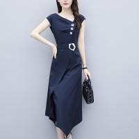 Waist Belt Sloping Neck Irregular Modern Fashion Formal Dress - Dark Blue