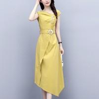 Waist Belt Sloping Neck Irregular Modern Fashion Formal Dress - Yellow