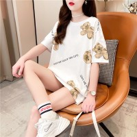 Solid Color Round Neck Loose T-Shirt - White