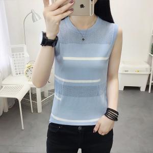 Round Ribbed Pattern Summer Women Fashion Blouse Sando Top - Blue