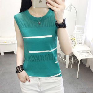Round Ribbed Pattern Summer Women Fashion Blouse Sando Top - Green
