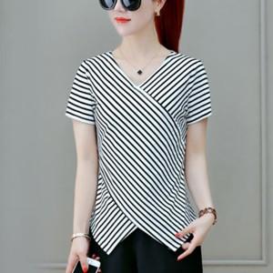 Irregular Stripes Printed V Neck Short Sleeves Blouse Top - White