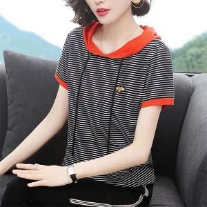 Stripes Printed String Hoodie Short Sleeves Top - Orange