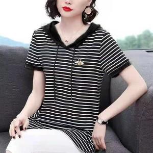 Stripes Printed String Hoodie Short Sleeves Top - Black