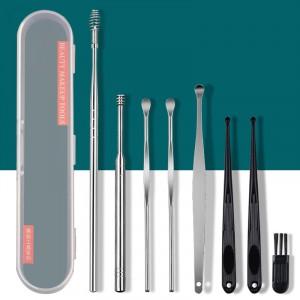 8 Piece Stainless Steel Ear Picking Spoon Set Earpick Wax Remover
