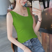 Slash Neck Body Fitted Solid Color Blouse Top - Green