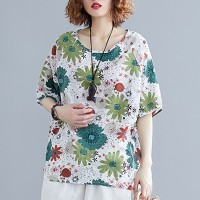 Printed Floral Loose Round Neck Clothing Fashion Wear Blouse Top - Green