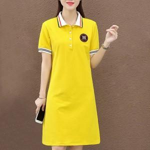 Polo Neck Short Sleeves Mini Dress - Yellow