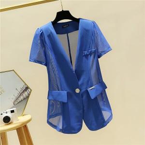 Thin Fabric Safari Style See Through Outwear Jacket - Blue