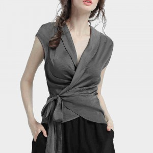 Wrapped Waist Band V Neck Blouse Top - Gray