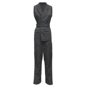 Suit Neck Sleeveless Two Pieces Solid Color Suit - Black