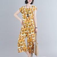 Round Neck Short Sleeves Two Piece Printed Suit - Yellow