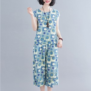Round Neck Short Sleeves Two Piece Printed Suit - Blue