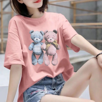 Loose Clothing Round Neck Women Fashion T-Shirt - Pink